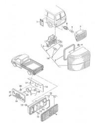 Фара-отражатель заднего бампера VW T4