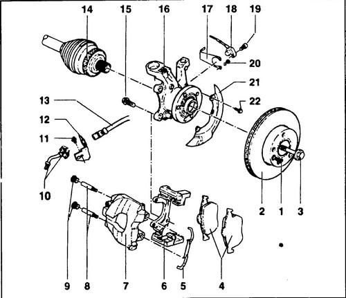 Схема тормозной системы фольксваген т4